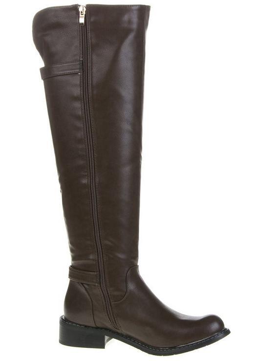 Overkneelaarzen gespen rits 47 cm bruin Overknee laarzen