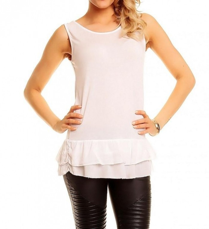 Tuniek 2 delig met tank top wit Tops Mini jurken.nl