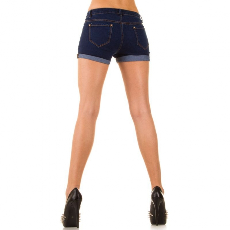 Korte dames broek met studs donker blauw