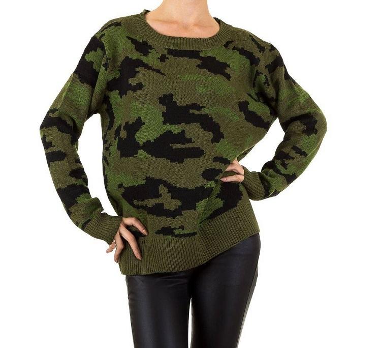 5e279bc460174b Dames trui One size XS-L camouflage army print groen - Vesten en ...