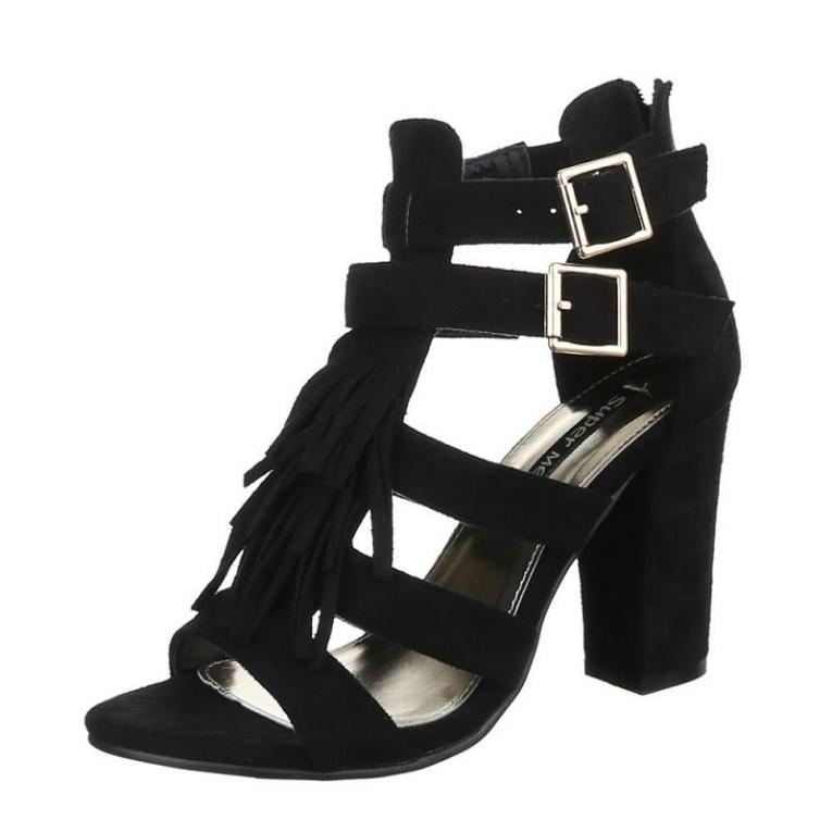 Ibiza pumps sandalen bandjes franjes zwart