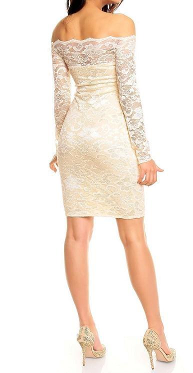 beige jurk met kant