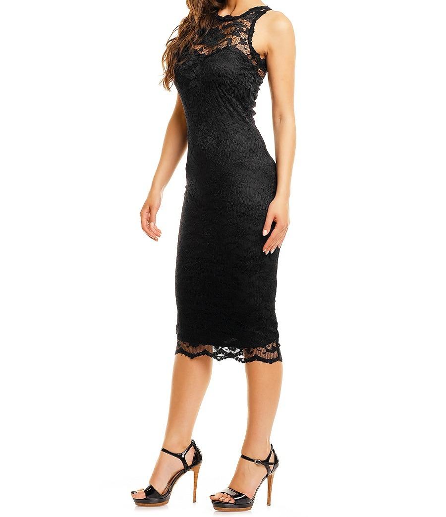 Wonderbaarlijk Kanten jurk knielengte zwart S-XL - Jurken - Mini-jurken.nl GU-41