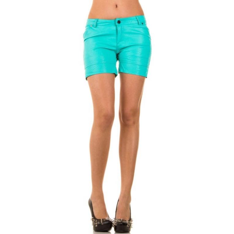 Korte Broek Dames.Korte Dames Broek Wetlook Turquoise Shorts Mini Jurken Nl