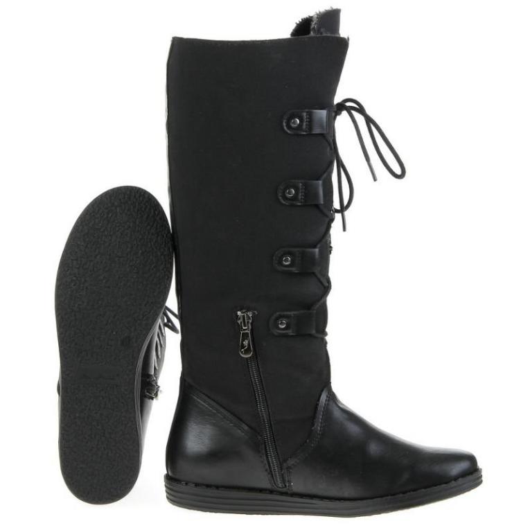 Verwonderend Laarzen 36 cm leer met veters zwart - Laarzen - Mini-jurken.nl XF-76