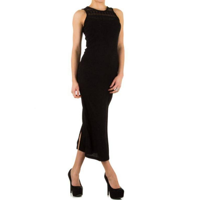 Populair Lange jurk fijn gebreid met kant zwart - Jurken - Mini-jurken.nl EG88