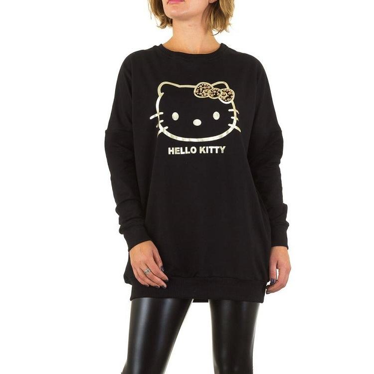 Lange Oversized Trui.Lange Oversized Trui Hello Kitty Print Zwart Goud Vesten En Truien