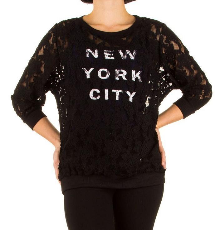Dames Trui Met Tekst.Trui Van Kant New York City Tekst Zwart Vesten En Truien Mini